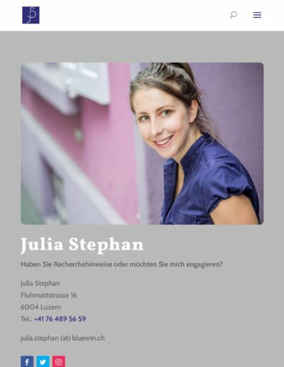 Webseite Julia Stephan: Kontaktseite nimmt Farben auf