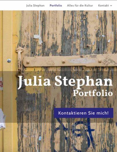 Webseite Julia Stephan: Portfolioseite in Desktop-Breite