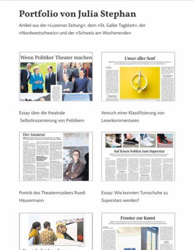 Webseite Julia Stephan: Portfolioseite mit Arbeitsproben