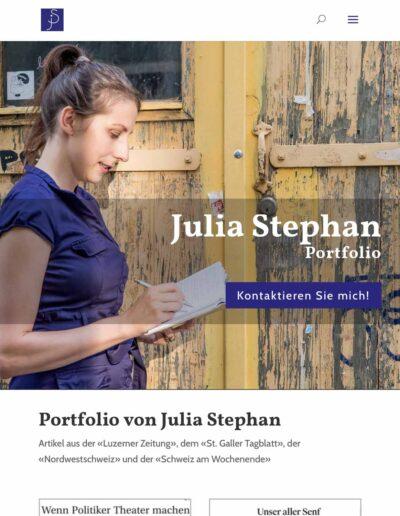 Webseite Julia Stephan: Die Portfolioseite in der Tablet-Version
