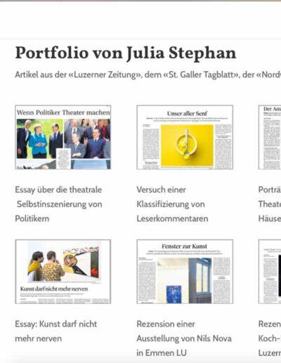 Webseite Julia Stephan: Portfolio in der Desktopvariante
